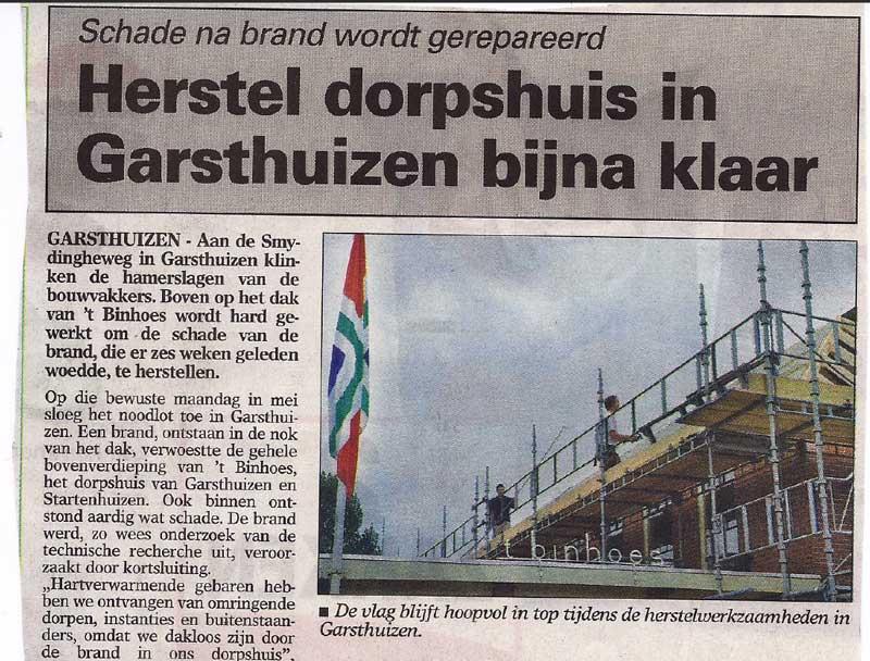 krant brand Binhoes